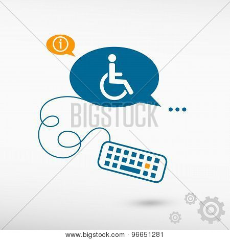 Disabled Handicap Icon And Keyboard On Chat Speech Bubbles