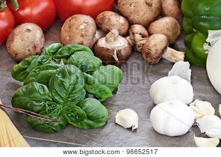 Fresh Basil And Ingredients For Spaghetti Sauce