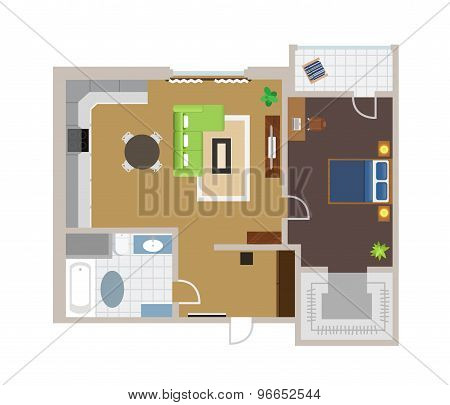 Flat project with furniture, vector