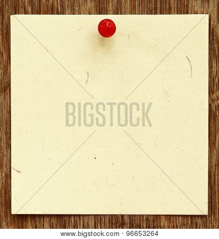 Blank Notice With Pushpin