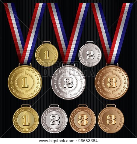 Set Of Vector Patterns Medals Gold, Silver, Bronze