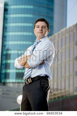 Corporate Portrait Attractive Businessman Outdoors Urban Office Buildings