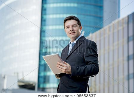 Corporate Portrait Businessman With Digital Tablet Outdoors Working