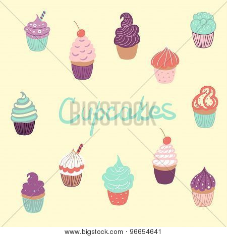 Hand Drawn Delicious Yummy Vector Cupcakes