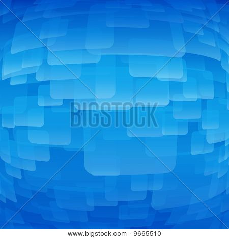 The blue background made from a transparent light blue rectangles, convex in the middle.
