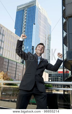 Successful Businessman Happy Doing Victory Sign
