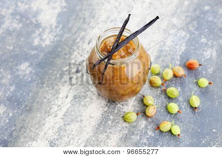homemade gooseberry jam with vanilla - goods in jar