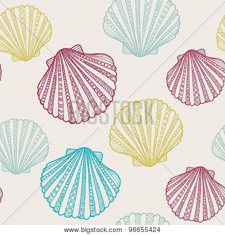 Seamless vector summer pattern with hand drawn doodle shell illustrations
