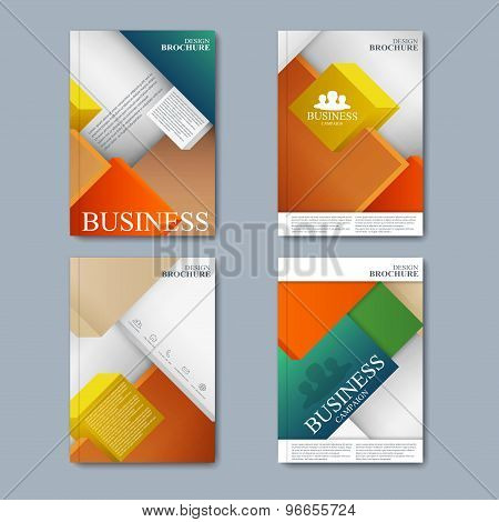 Modern vector set of brochures in the business style for your design