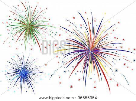 The vector illustration of fireworks