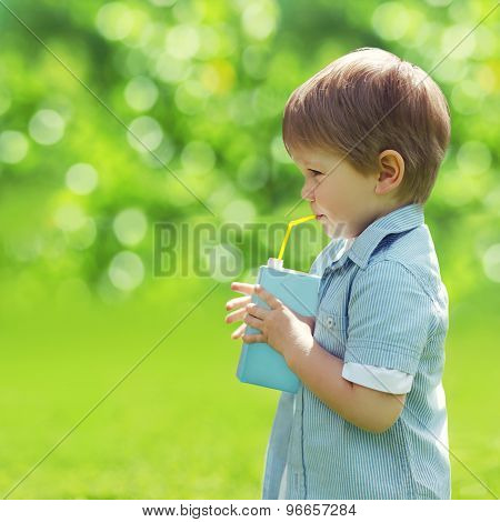 Sunny Portrait Of A Little Child Drinking From A Straw Juice In Profile On Blurred Summer Background