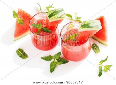 Fresh Watermelon Juice In The Glass.