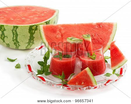 Glasses Of Watermelon Smoothie