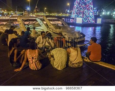 People At Summer Night At Lake In Cartagena