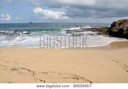 Beach, Waves And Islet