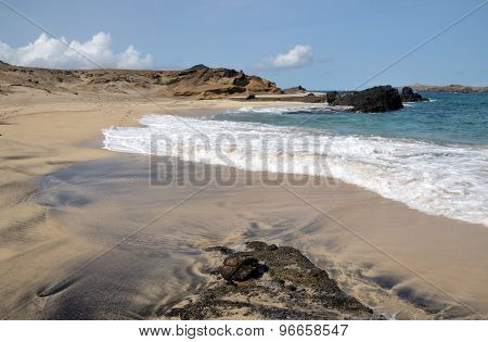 Waves On White Sand Beach In Djeu
