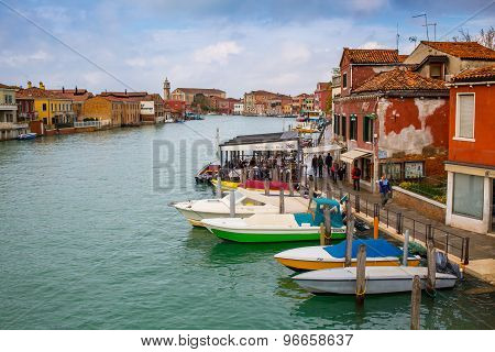 Canal In Venice, Trattoria And Boats