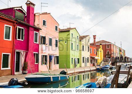 Venice Landmark, Burano Island, Colorful Houses And Boats
