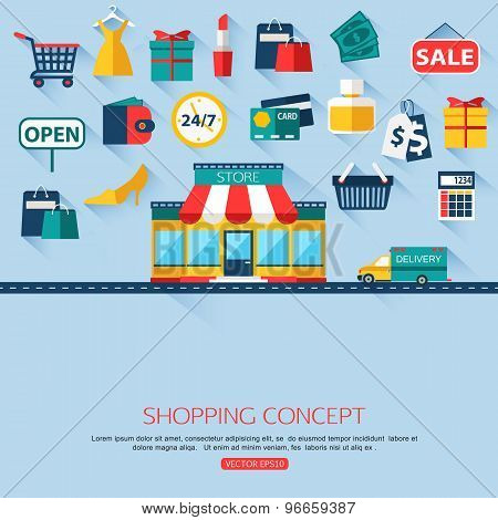 Shopping concept background with place for text. Flat design.