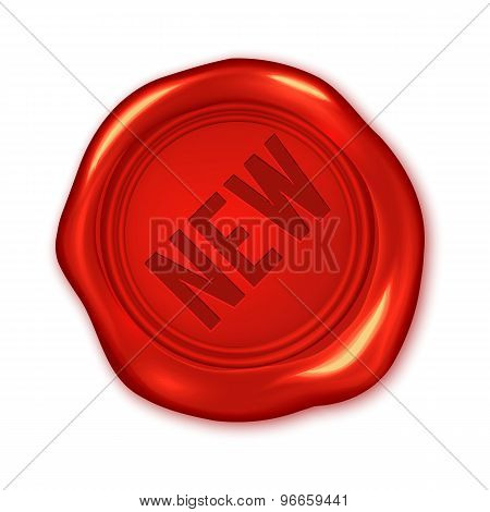 New Text On Vector Red Wax Seal Isolated On White