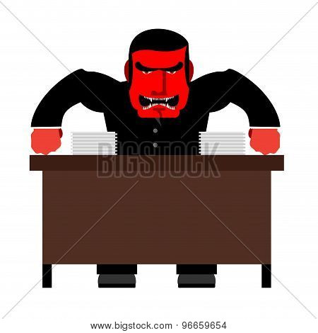 Angry Boss. Chief Red With Anger At  Table. Head Of Swears And Shouts. Vector Illustration.