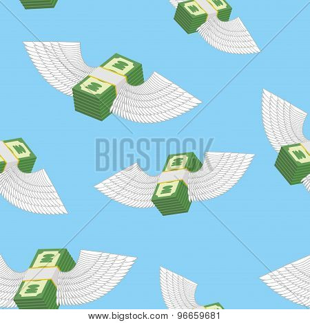Winged Money Seamless Pattern. Cash In  Blue Sky. Vector Background