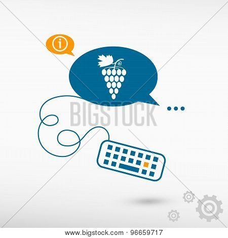 Grape Icon And Keyboard On Chat Speech Bubbles