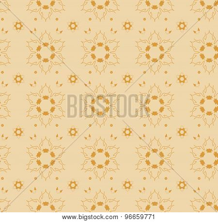 Seamless pattern with abstract orange flowers.