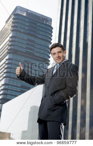 Corporate Portrait Young Attractive Businessman Outdoors Urban Office Buildings