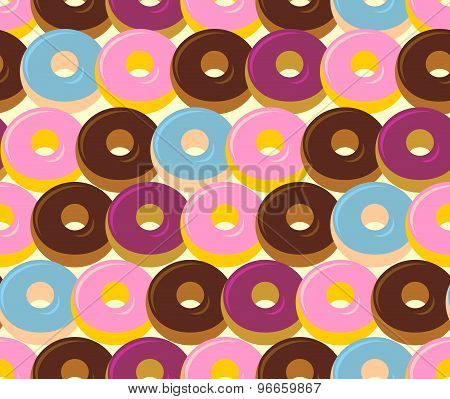 Donuts Seamless Pattern. Chocolate And Strawberry Desserts. Sweets Vector Ornament