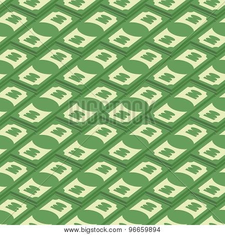 Money Seamless Pattern. Banknotes Of American Money For 100 Dollars. Cash Dollars, Vector Background