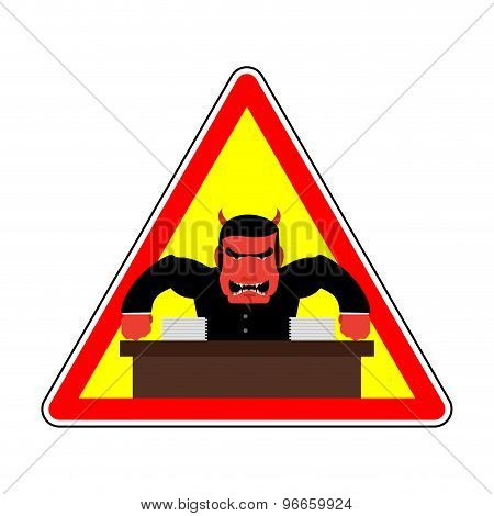 Danger Sign Office Label. Beware Of Evil Boss. Angry Chef. Vector Illustration. Red Man Yells At Off
