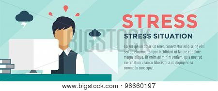 Clerk at Stress Illustration. Office, Table, Designer and Computer. Vector stock for design