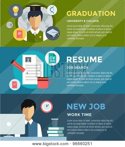 Job search after university infographic. Students, labor, searching and professions. Vector stock illustration for design