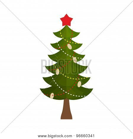 Christmas Tree With A Star And Buds On A White Background. Vector Illustration
