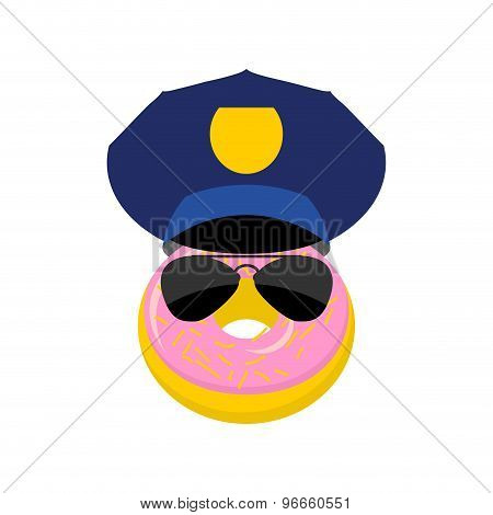 Donut In A Police Cap And Glasses. Vector Illustration Policeman.