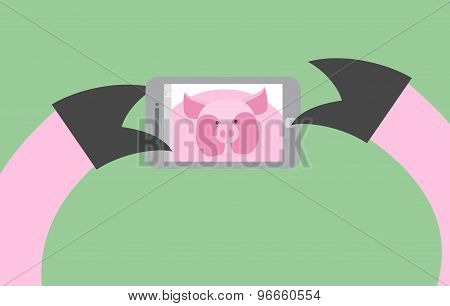 Selfie Pig. Animal Is Photographed On Phone. Smartphone In Its Paws. Vector Illustration Of A Farm A