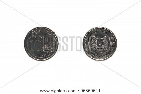 Ten Singaporean cents coin