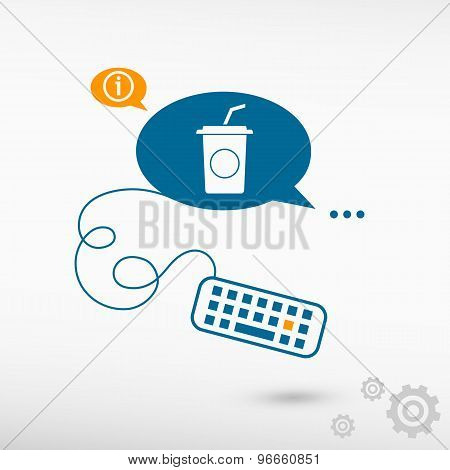 Soft Drink Icon And Keyboard On Chat Speech Bubbles