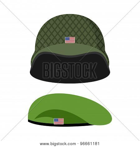 Green Beret. Army Helmet. Military Set Of Headgear. Vector Illustration