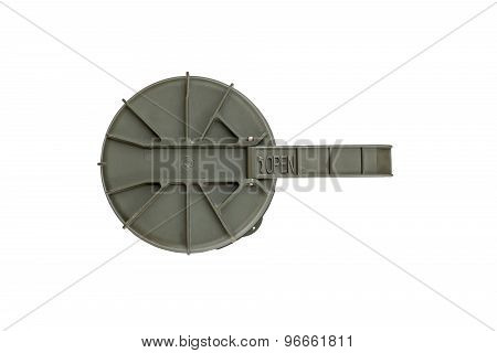 Top view of missile case cap on a white background