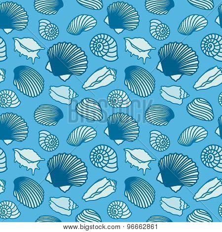 Seashell and starfish background. Seamless pattern.