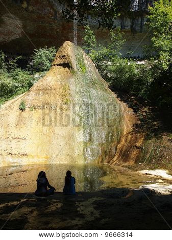 Two Girls In The Shadow Looking A River Falling On A Big White And Yellow Rock, The Pain De Sucre, F