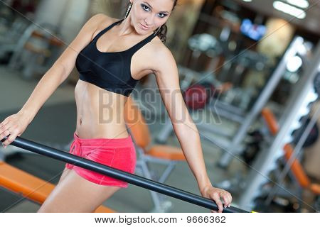 Girl With Perfect Body In Fitness Hall