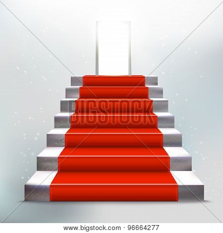 Stone Ladder With Red Carpet And Open Door