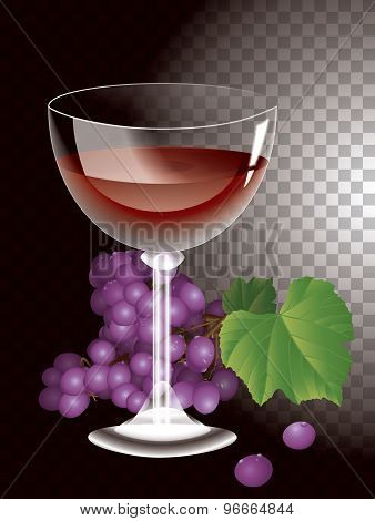 wine glass on background bunches of grapes