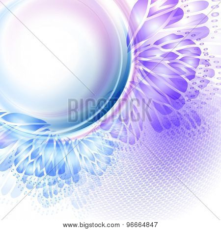 Abstract wave blue purple background with butterfly wings