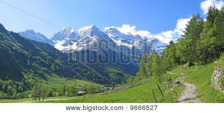 View From Far In The Background Of The Gavarnie Circus Mountains, The Pyrenees, France, Panorama