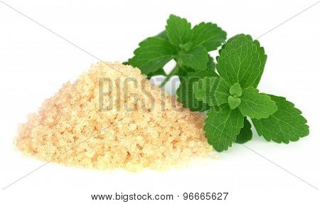 Brown Sugar With Stevia Leaves