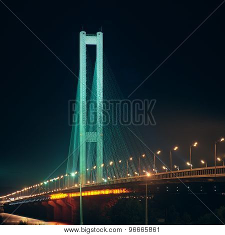 Southern Bridge At Night. Kyiv, Ukraine.